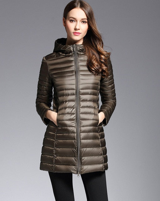 Slim Hooded Down Long Jacket Ultra Light