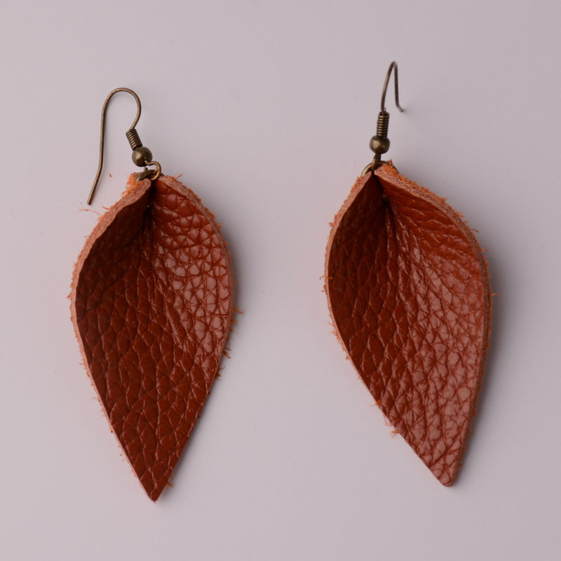 Neutral Teardrop Genuine Leather Earrings