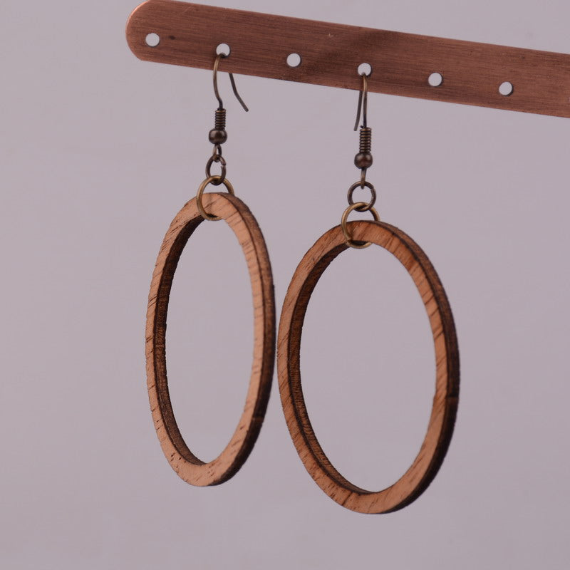 Natural Round Wood Hoop Earrings