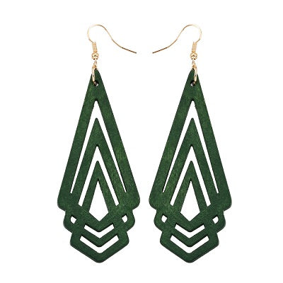 Natural Wooden Earrings Geometric 4 Colors