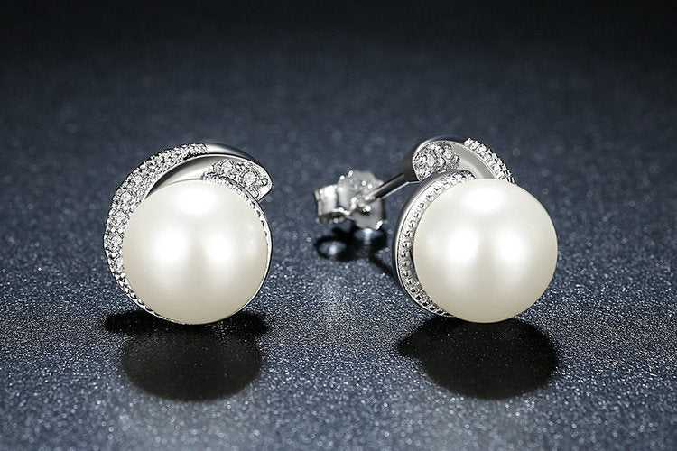 Pearl in Sterling Silver with pave Cubic Zirconia Earrings