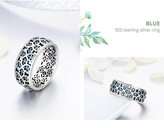 925 Sterling Silver  Sweet Clover Blue CZ Ring - Sizes: 6,7,8