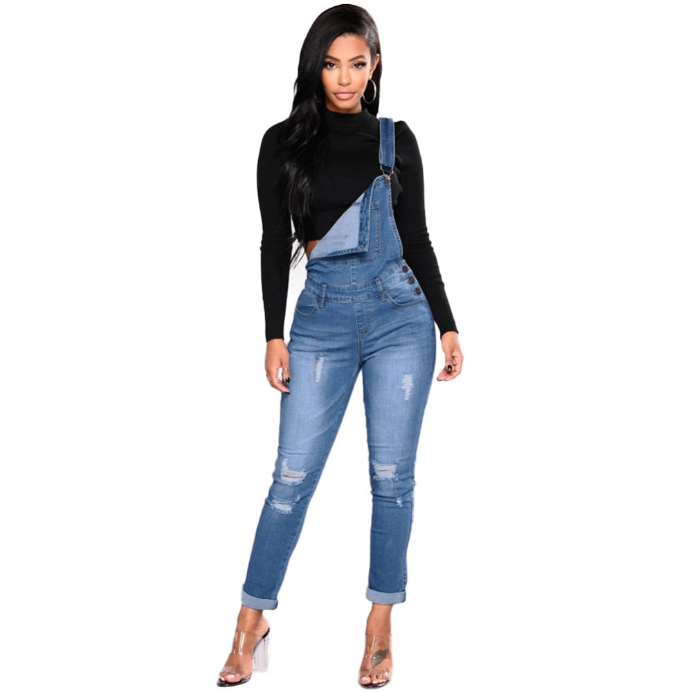 Terrain Denim Distressed Overalls - S-3XL