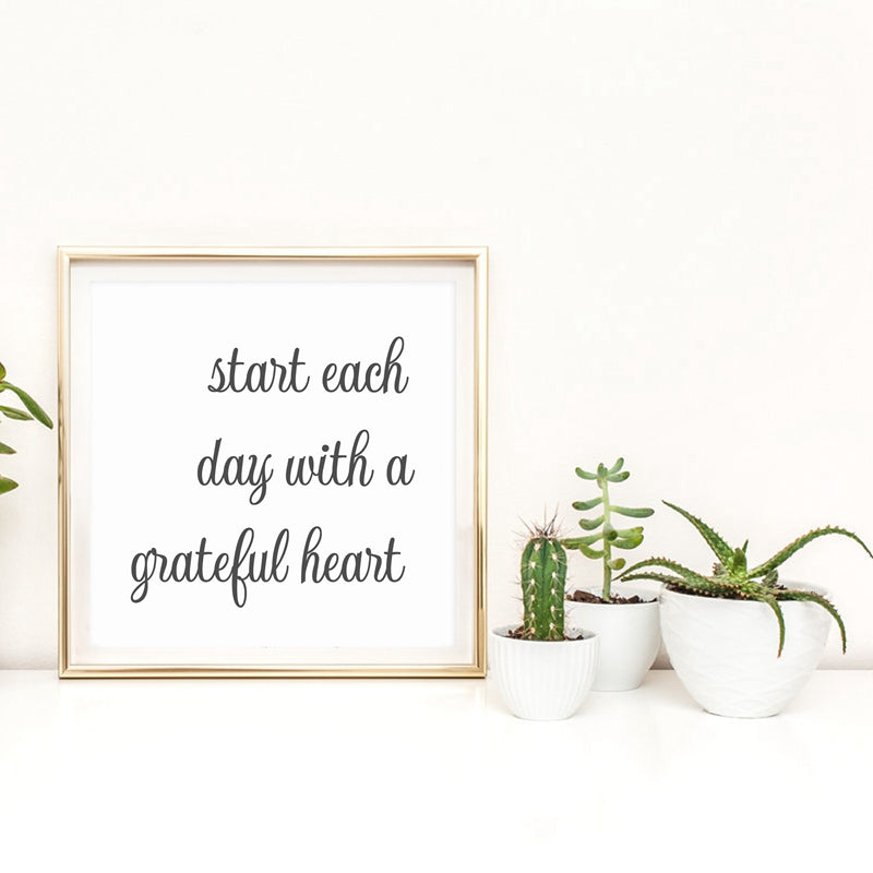 Start Each Day With A Grateful Heart Canvas Farmhouse Print