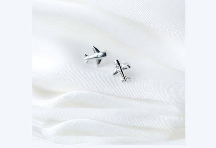 .925 Sterling Silver Aircraft Airplane Plane Earrings