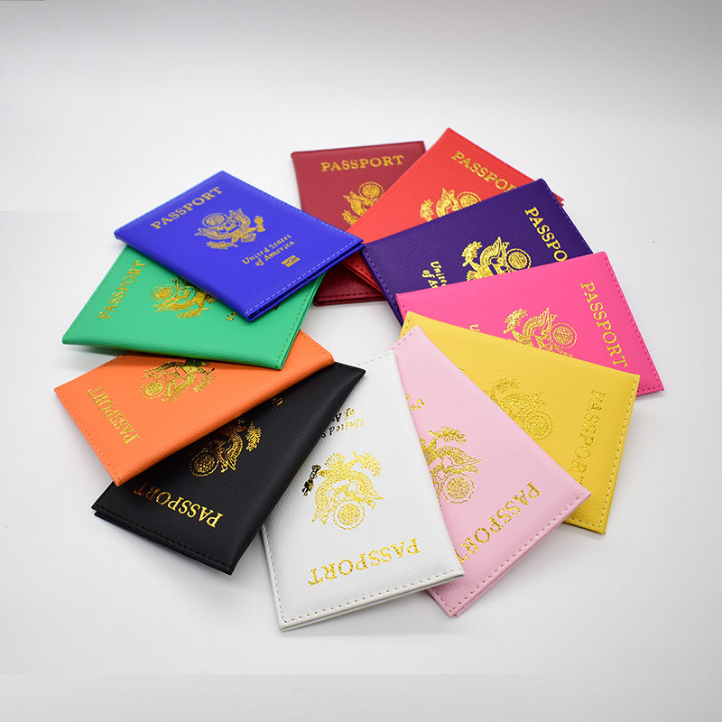 USA Cover for Passport Cover Pebble Soft Travel High Quality - 13 Colors