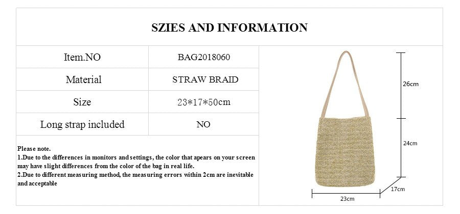 Martha's Vineyard Durable Weave Straw Beach Bag - 2 Colors