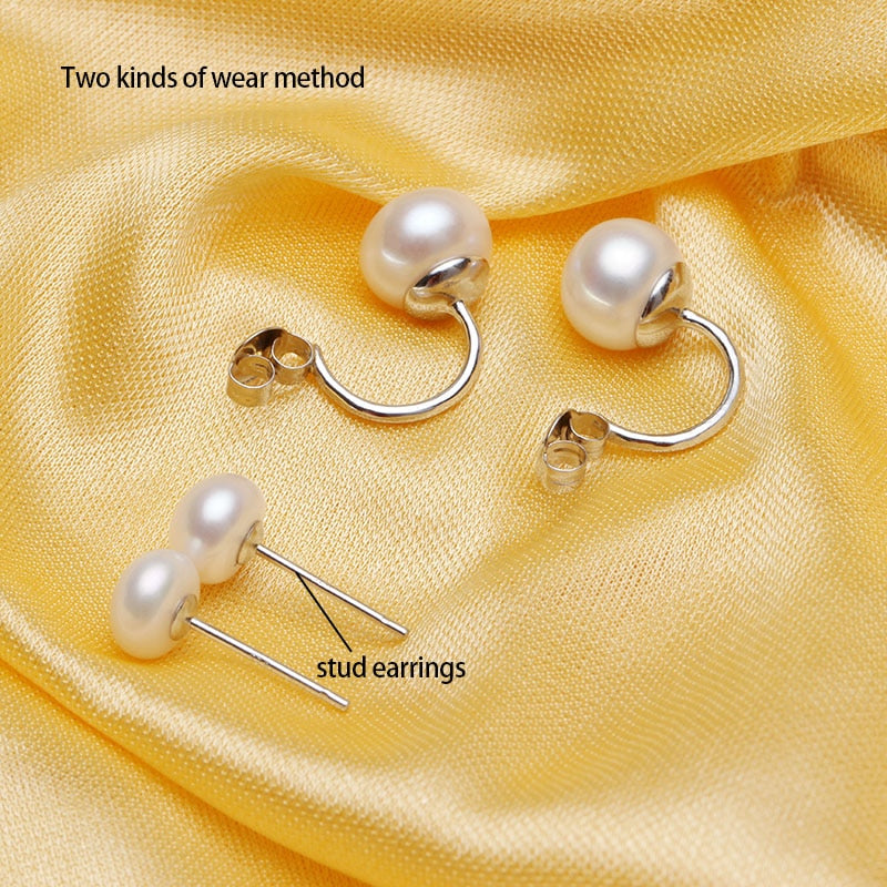 STERLING SILVER DOUBLE NATURAL PEARL EARRINGS - 3 Colors