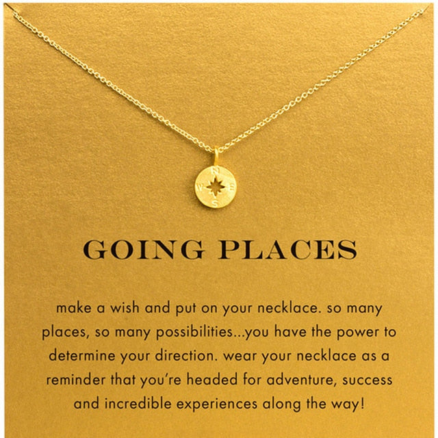 Going Places - Gold Compass Pendant Choker Necklace