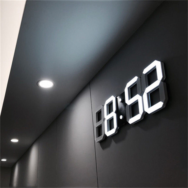 3D LED Wall Clock Modern Digital Design  12 or 24 hr option