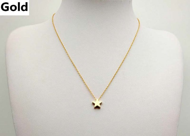 Women Simple Dainty Choker Gold or Silver Chain Star Necklace