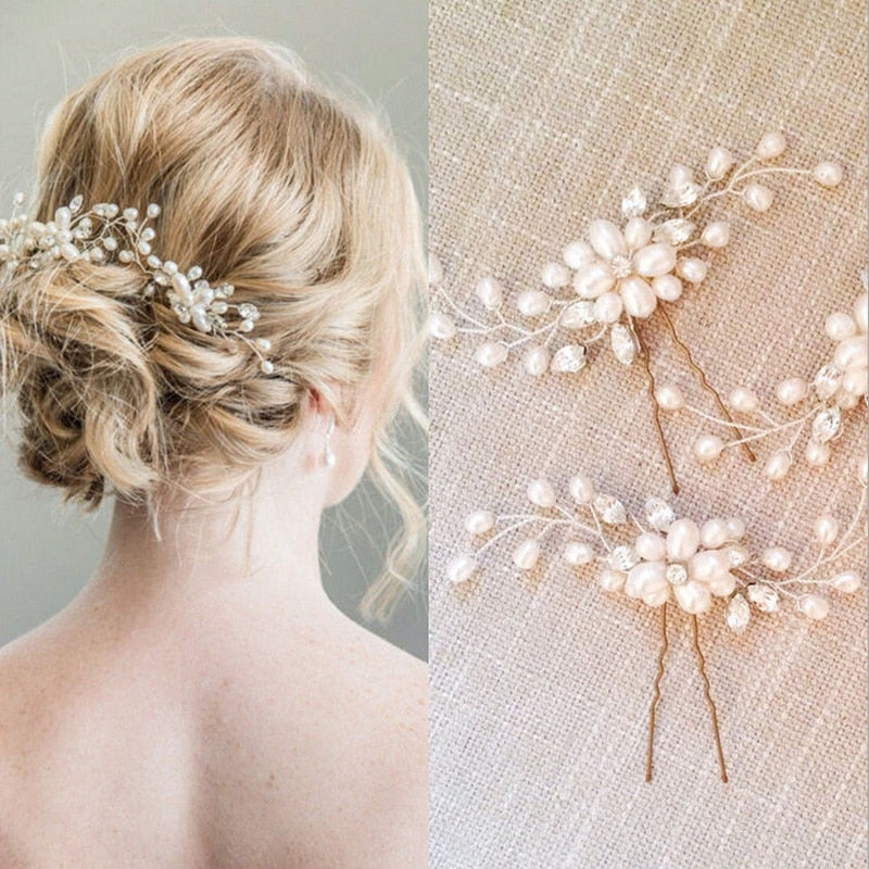 Floral Faux Pearl Hair Pin with Crystals
