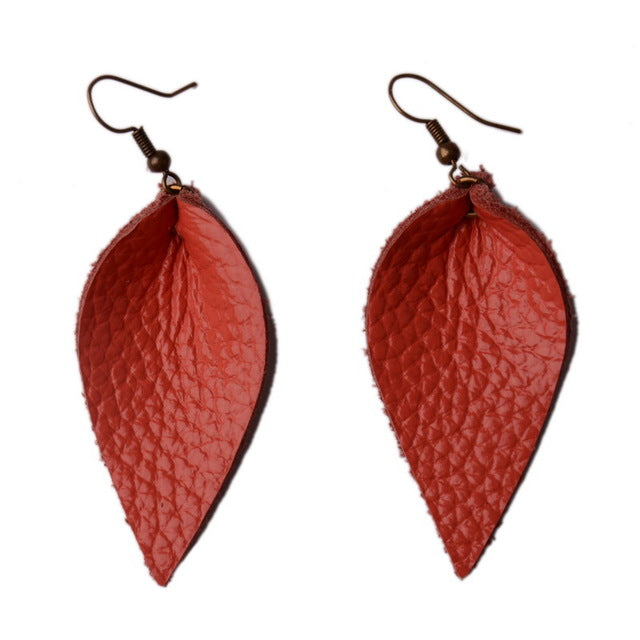 Colorful Teardrop Genuine Leather Earrings