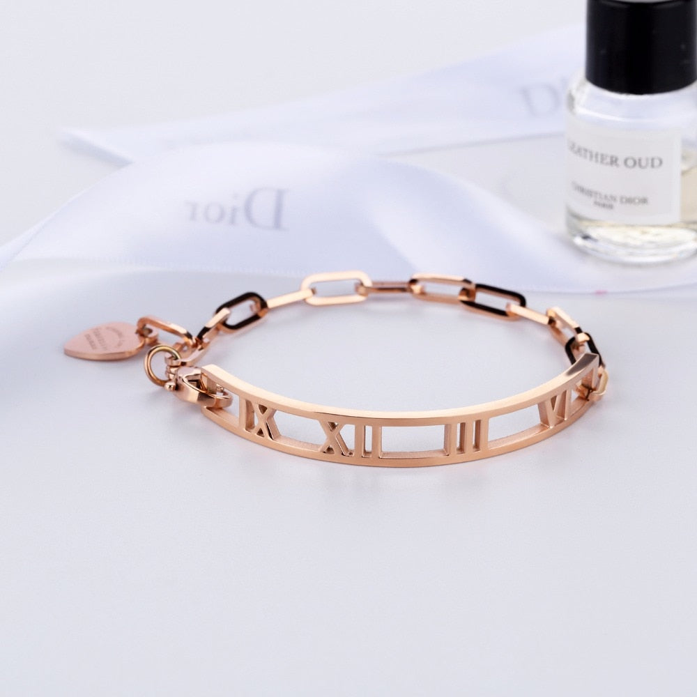 Roman Number Stainless Steel Bangles Bracelet - Rose Gold or Steel Alloy