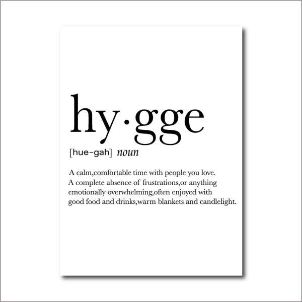 Hygge Printed Canvas Definition Wall Art - 8 Sizes