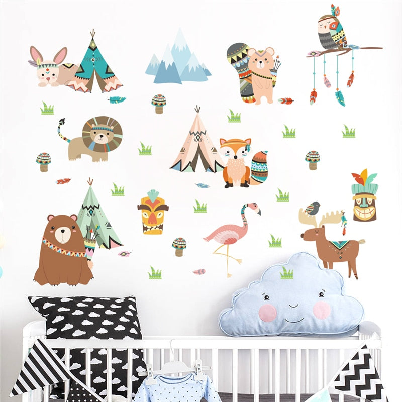 Western Animal Tribal Wall Stickers For Kids Rooms