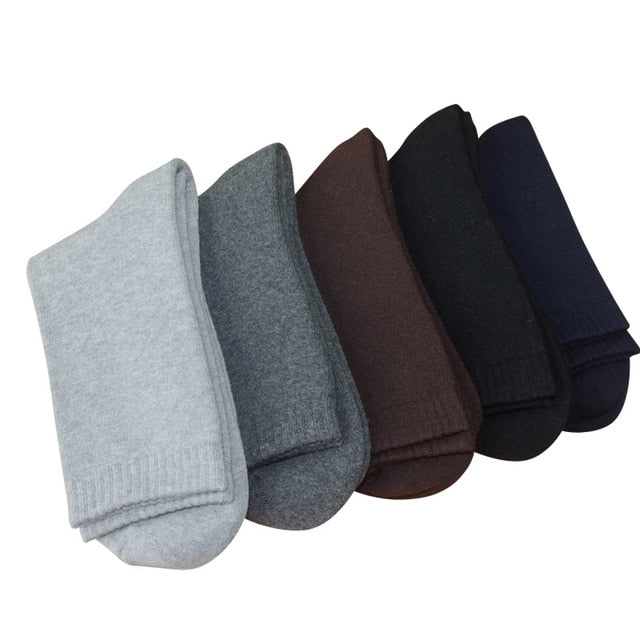 Argyle or Solid Men's Soft Terry Socks - 5Pr Set