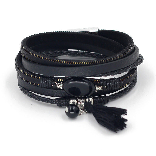 Fall Wrap Leather Bracelet- 6 Colors