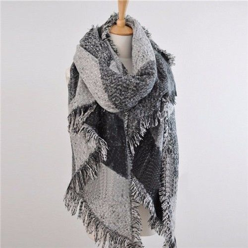 Wool Blend Winter Soft Plaid Scarf - 3 Colors