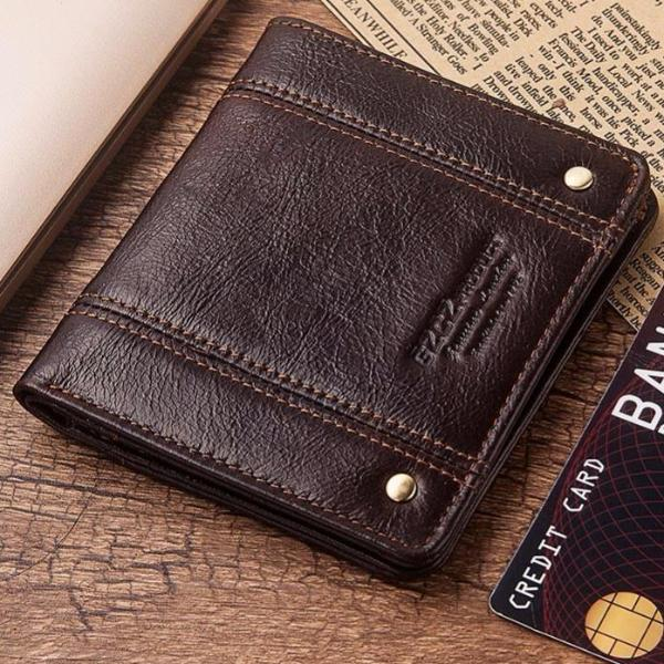 Thin Genuine Leather RFID protected Wallet - Brown