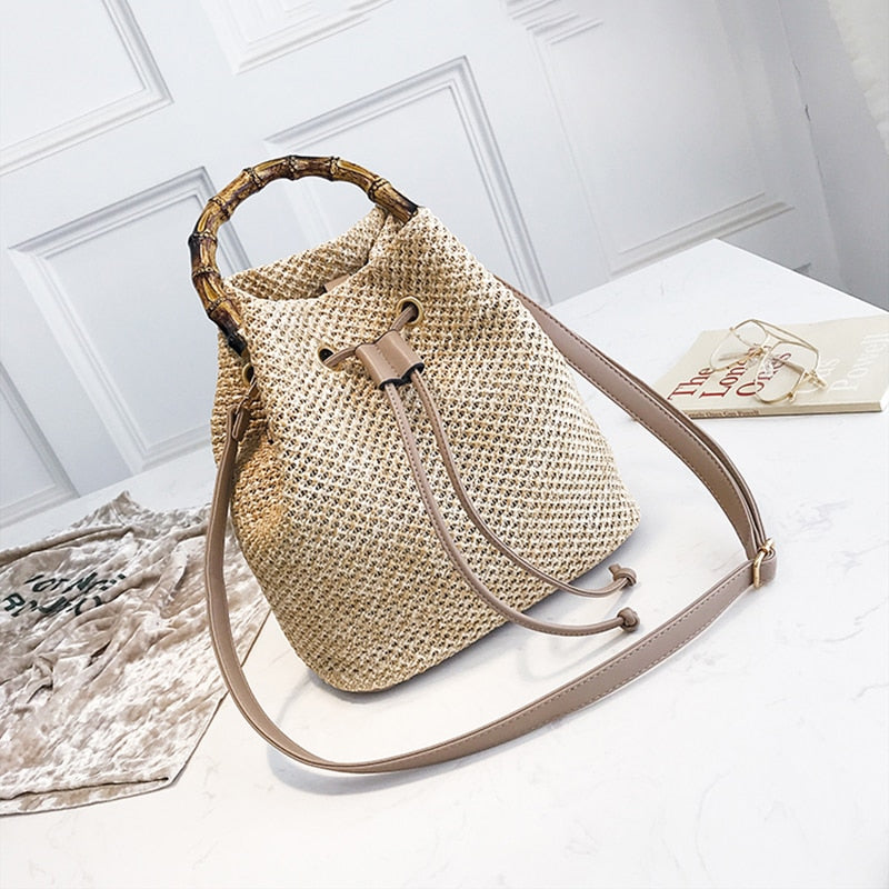 Drawstring Straw Woven Shoulder Bag