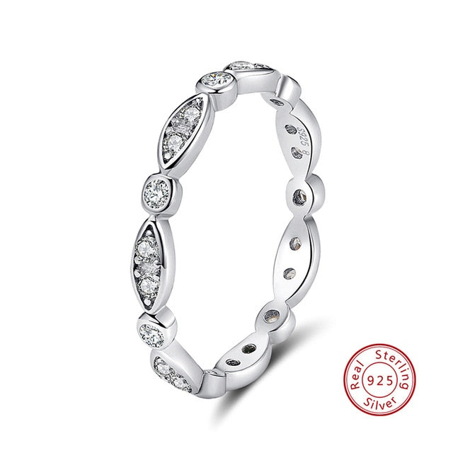 .925 Sterling Silver Cubic Zircon Eternity Ring - Sz 5-11