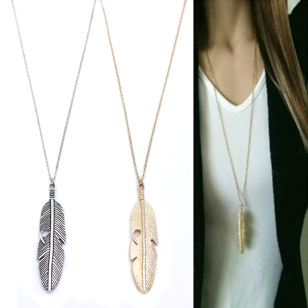 Simple Feather Pendant Necklace - Gold or Silvertone