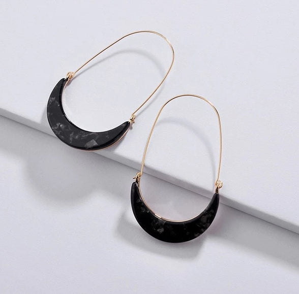 Acrylic Leopard Print Hook Hoop  - 5 Colors