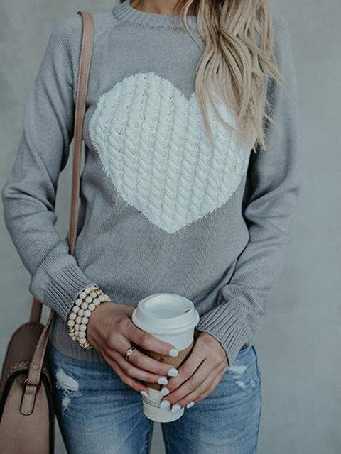 Sweet Heart Cable knit Sweater - 3 Colors