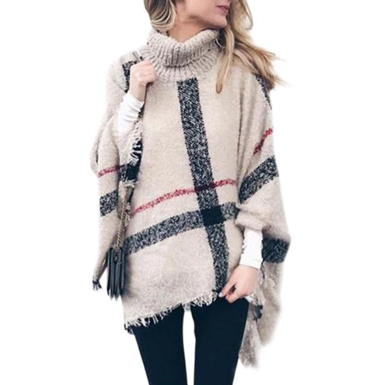 Plaid Knitted Turtleneck Pullover Sweater