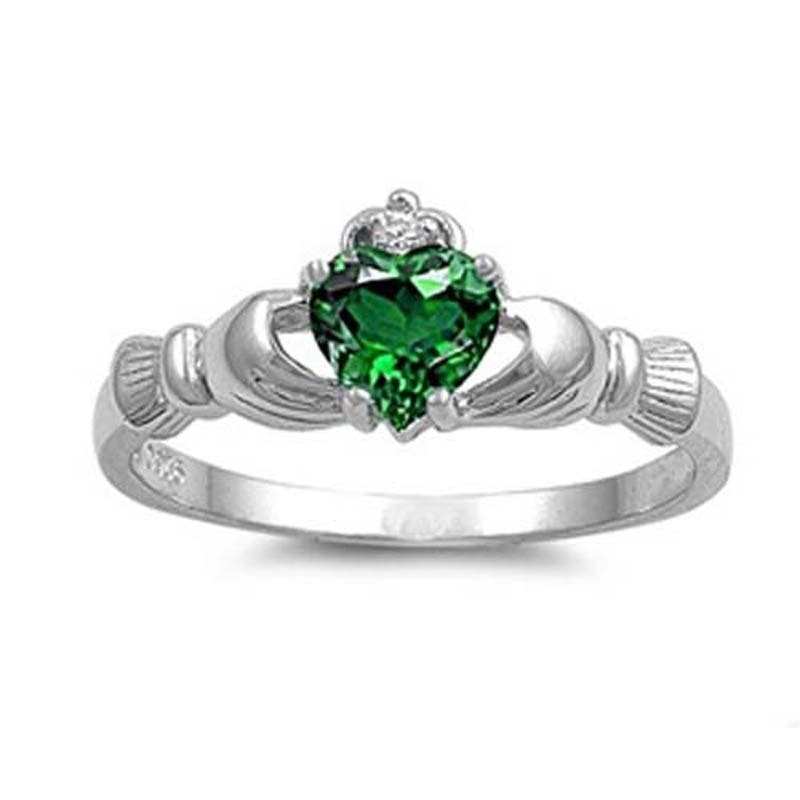 Silver Plated Irish Claddagh Love & Friendship Heart Ring Sz: 6-10 - Birthstone Colors