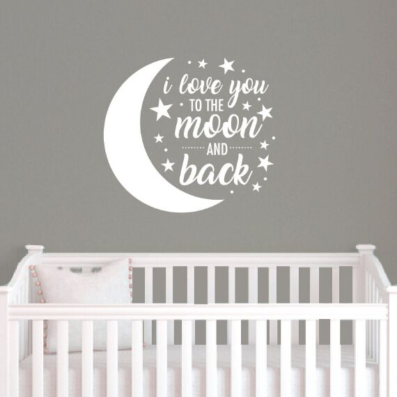 """I Love you to the moon and back"" Moon and Stars Vinyl Wall Sticker"