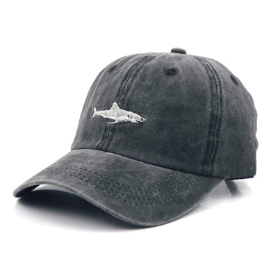 Embroidered Shark Chambray Baseball Cap - Adjustable - 3 Colors