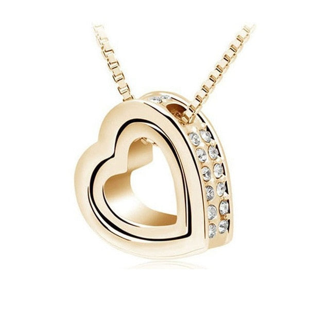 Double Heart Crystal Rhinestone Love Necklace - 6 Colors