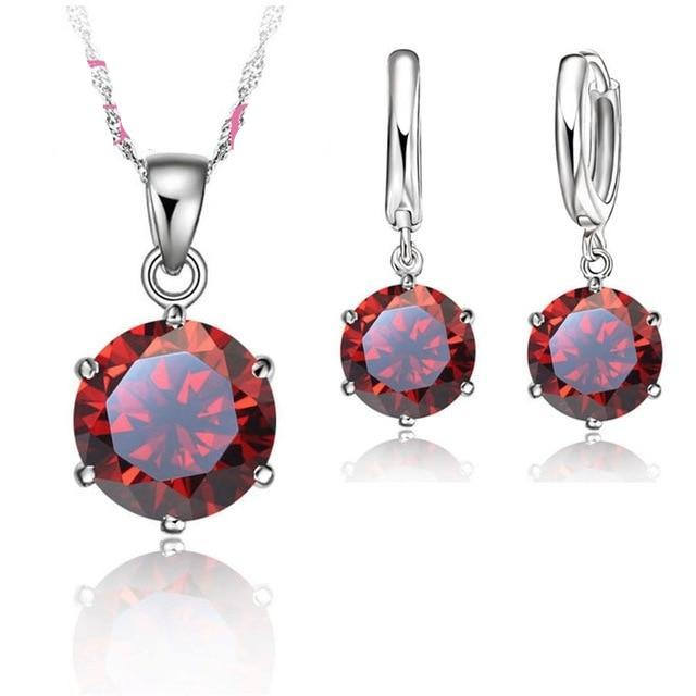 925 Sterling Silver Necklace and Earring Set - 1 Sz - 8 Colors