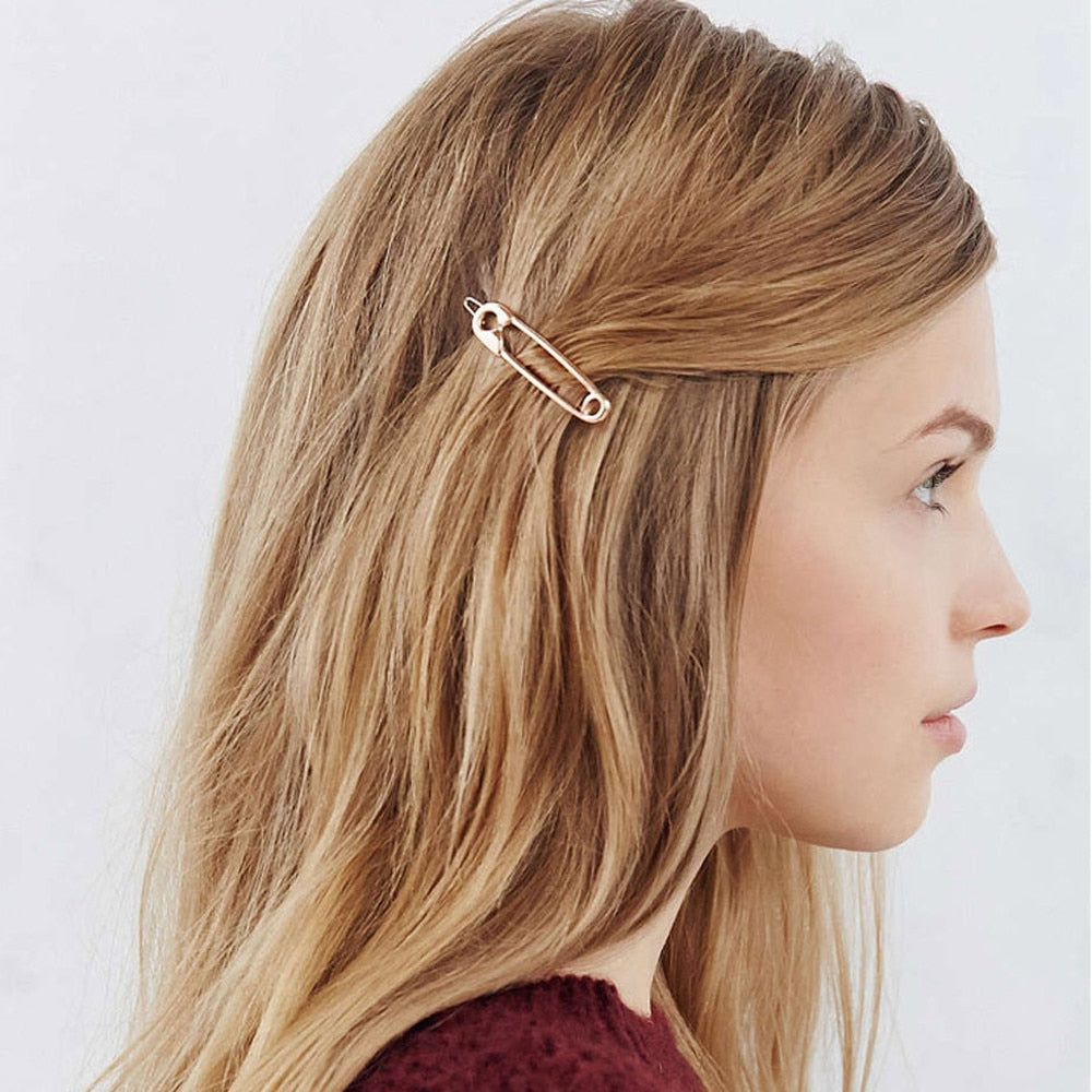 Safety Pin Hair Clip Barrette - Gold/Silver