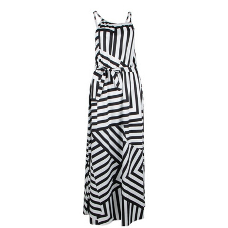Asymmetrical Striped Black and White Sundress - S-XL