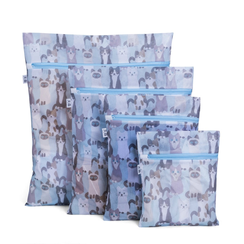 6Pcs Printed Wash Bags for Clothes and Delicates - 9 Asst patterns