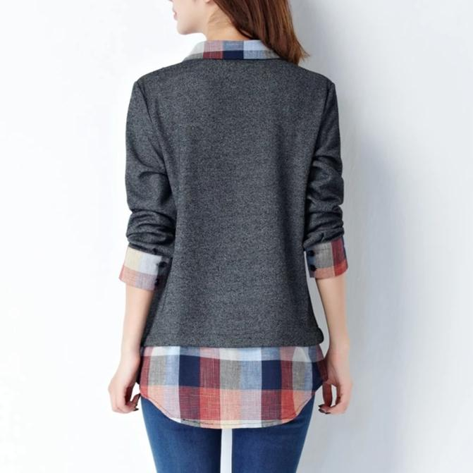 Plaid and Solid Ladies Layered Blouse - M-5XL
