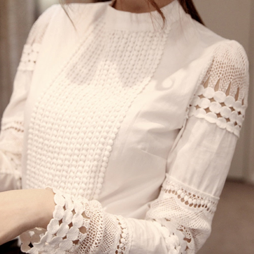 Lady Elegant Neck Lace Sleeved Top - S-5XL - White