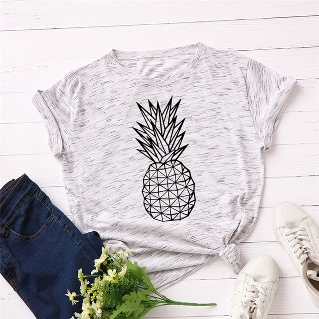 Pineapple Print O Neck T-Shirt - S-5XL - 11 Colors