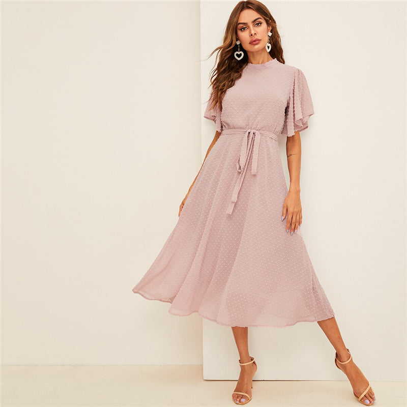Flutter Sleeve Swiss Dot Belted Elegant Dress - S-XL - Pink