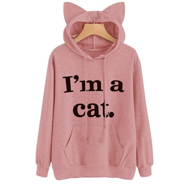 "Long Sleeve ""I'm a Cat"" Hoodie Sweatshirt Sizes - S-3XL - 7 Colors"