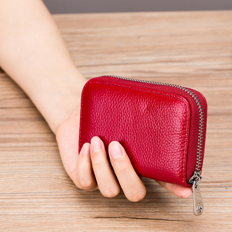 RFID Secure Genuine Leather Card Holder Zip Wallet - 8 Colors