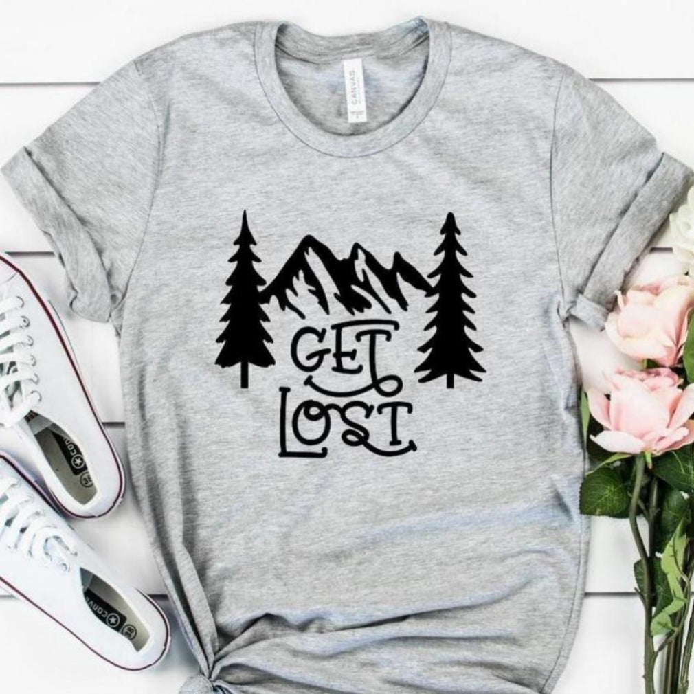 Get Lost in the Mountains T-shirt  - S-3XL - Lt Gray