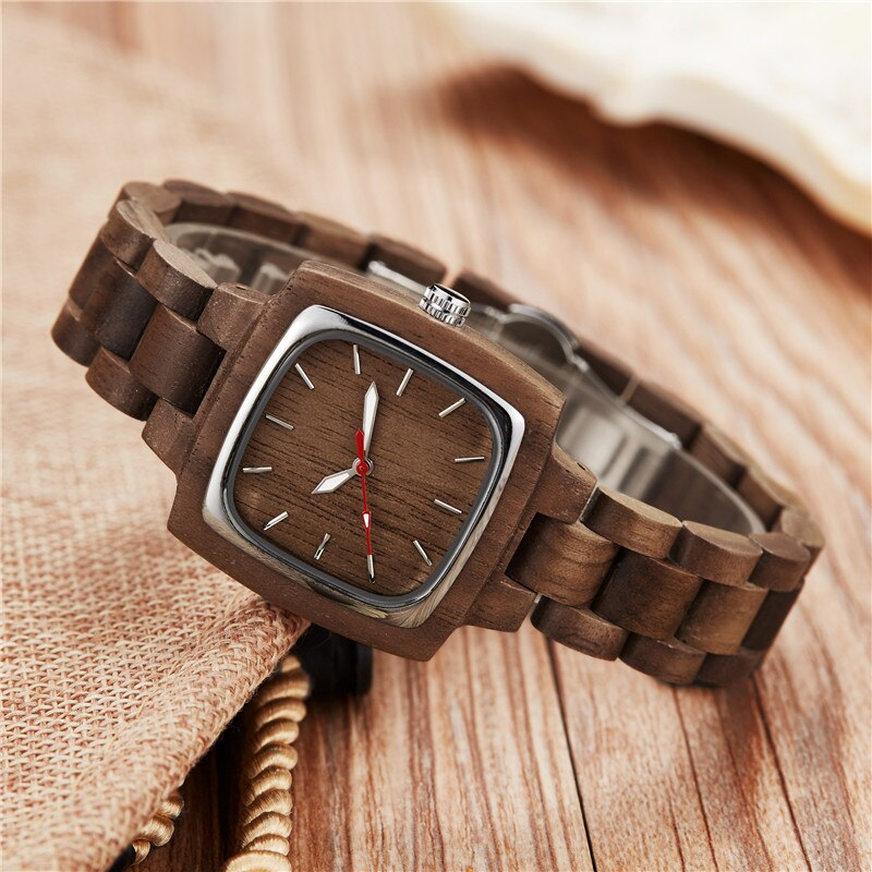 Simple Dark Bamboo Wood Couples Watches - Men / Women