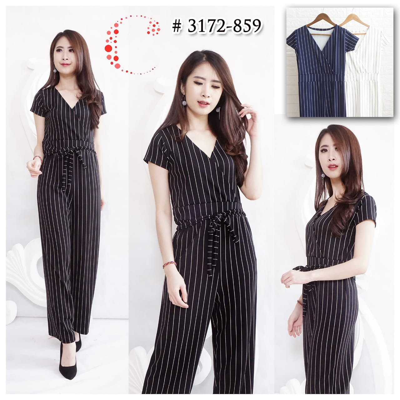 Long stripes jumpsuit 3172-859