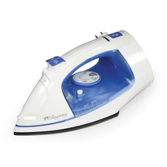 Registry® Full-Size Iron with Retractable Cord, White With Blue