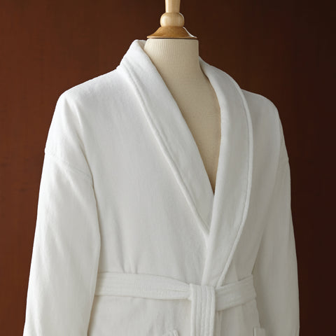 Le Montreux Combed Cotton Velour Robe with Shawl Collar