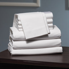 Conocera 300 Thread Count Ring-Spun Cotton Sateen Fitted Sheet White